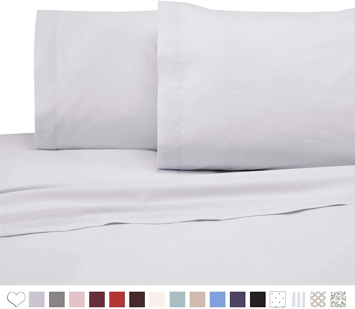 Unknown1 Count Queen White Sheet Set Solid Color Casual Cotton Blend