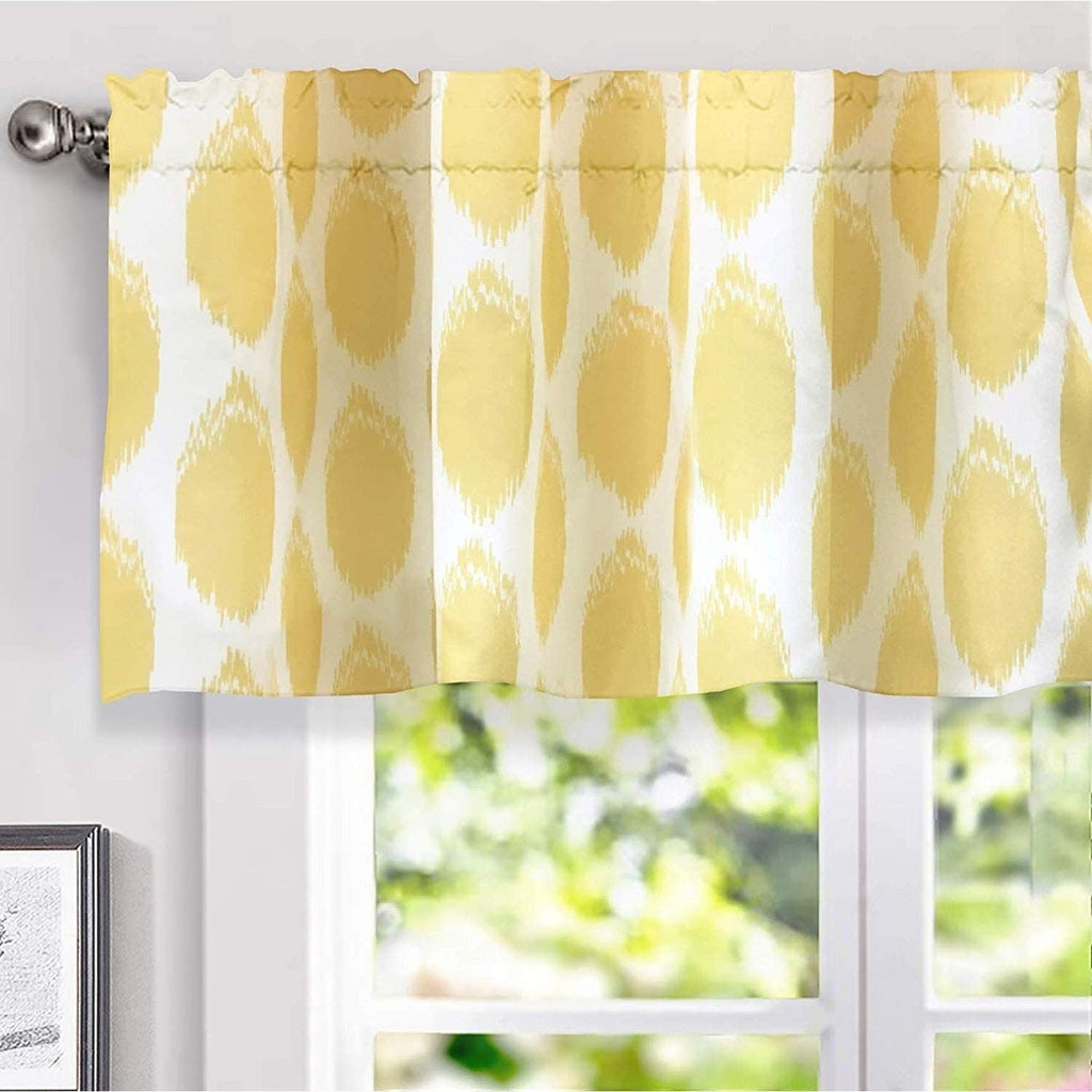 "Circle Ikat Polka Dot Window Valance 52"" W X 18"" L Yellow Modern Contemporary 100% Polyester"