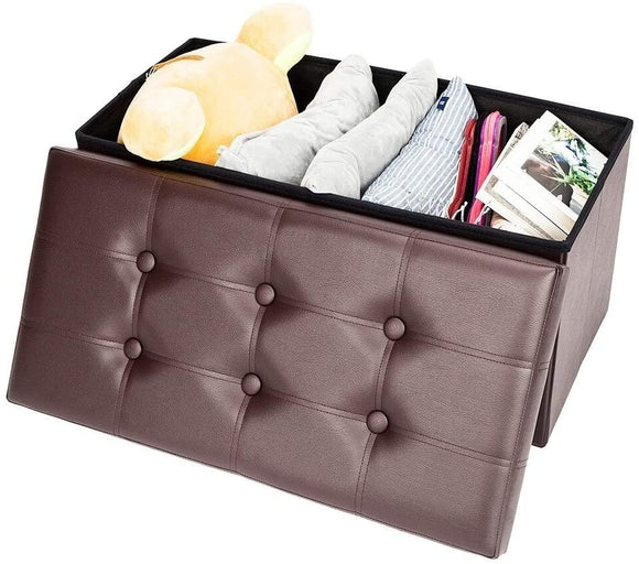 Storage Ottoman Multipurpose Square Bedroom Living Room Brown Mid Century Modern Solid Leather