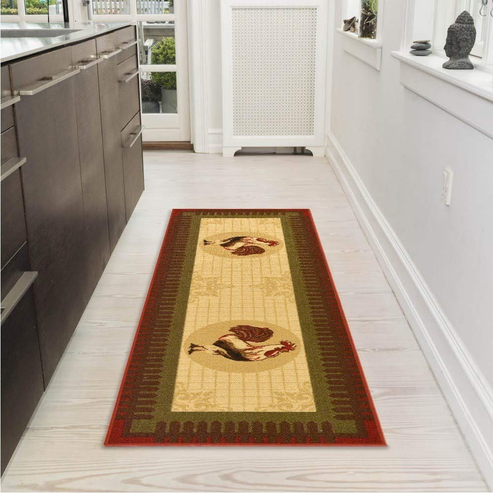 "Brown Rooster Rug 1'8""x4'11""Ft Non Slip Abstract Mat Modern Kitchen Carpet Bedroom Dining Living Room Nylon Synthetic"