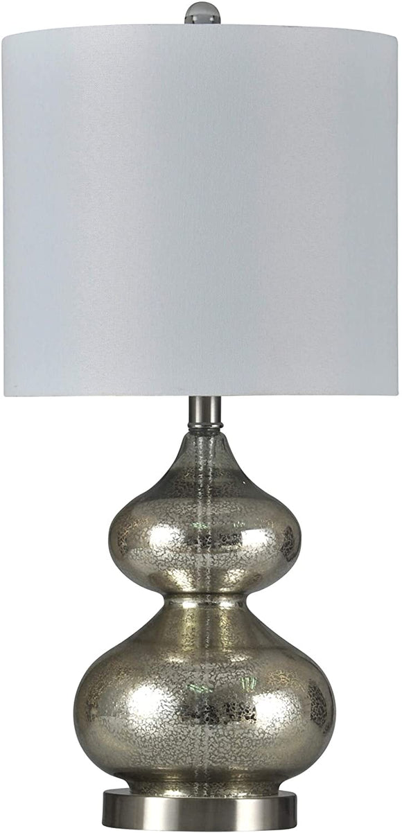 Brushed Steel Mercury Glass Table Lamp Off White Drum Shade Cream Transitional