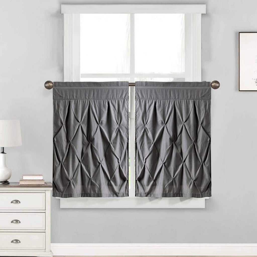 "Pintuck Window Curtain Tier Pair (24""x30"") Grey 24 Inch Solid Modern Contemporary 100% Polyester"
