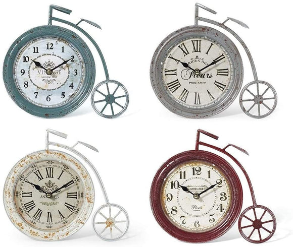 High Wheel Bicycle Clocks AST 4 Color Plastic