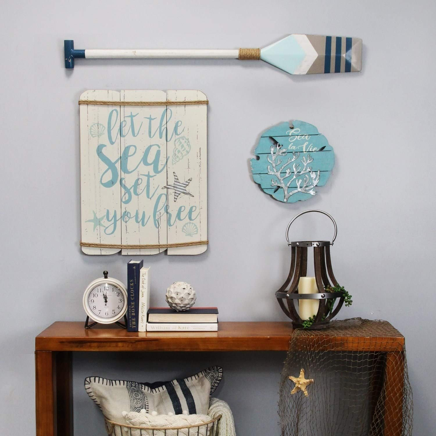 Beach Theme Sayings Let Sea Set You Free Decorative Wall Sign Aqua Blue Seashells Distressed White Wood Plank Jute Rope Metal Starfish Accents