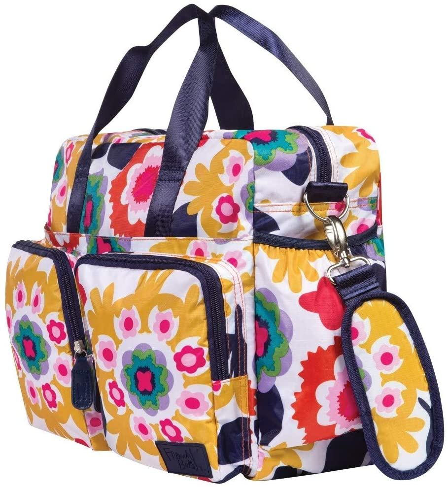 Pink Yellow Large Floral Diaper Bag Babies Baby Nursery Tote Backpack Carrier Geometric Flower Sun Flowers Pattern Design Roomy Changing Pad Zippered