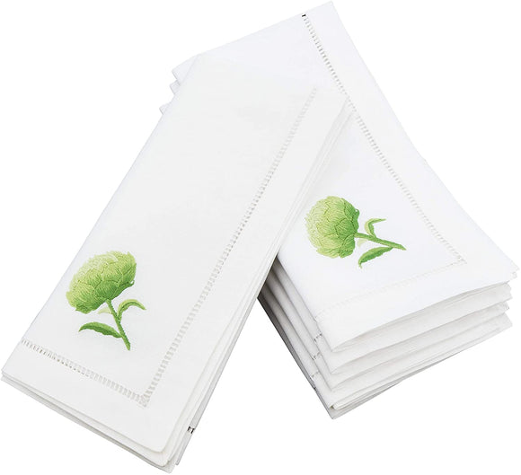 Embroidered Artichoke Hemstitched Cotton Napkin (Set 6) White Solid Country Farmhouse Rustic Square