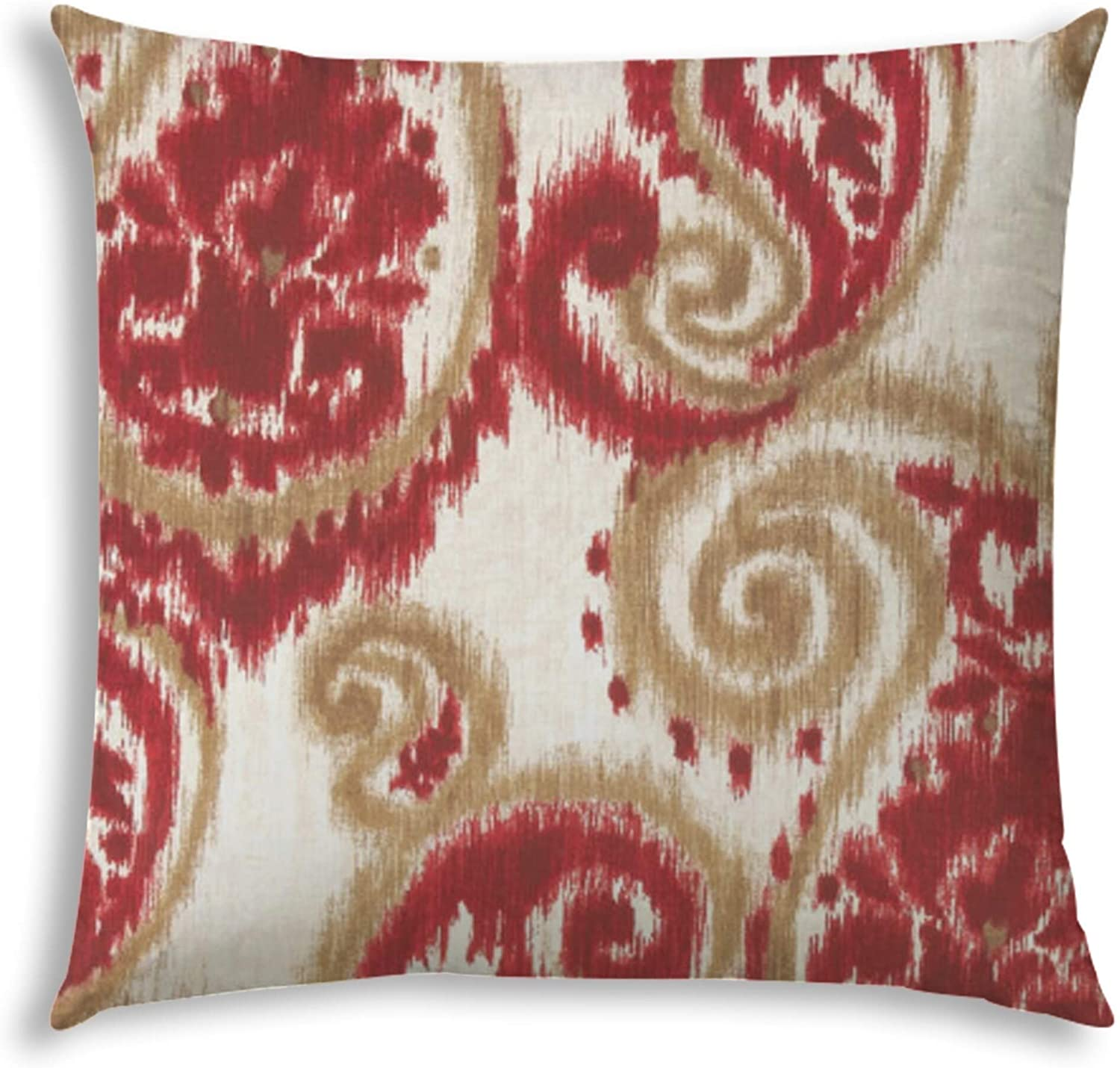 Swirl Red Indoor/Outdoor Pillow Sewn Closure Color Graphic Modern Contemporary Polyester Water Resistant