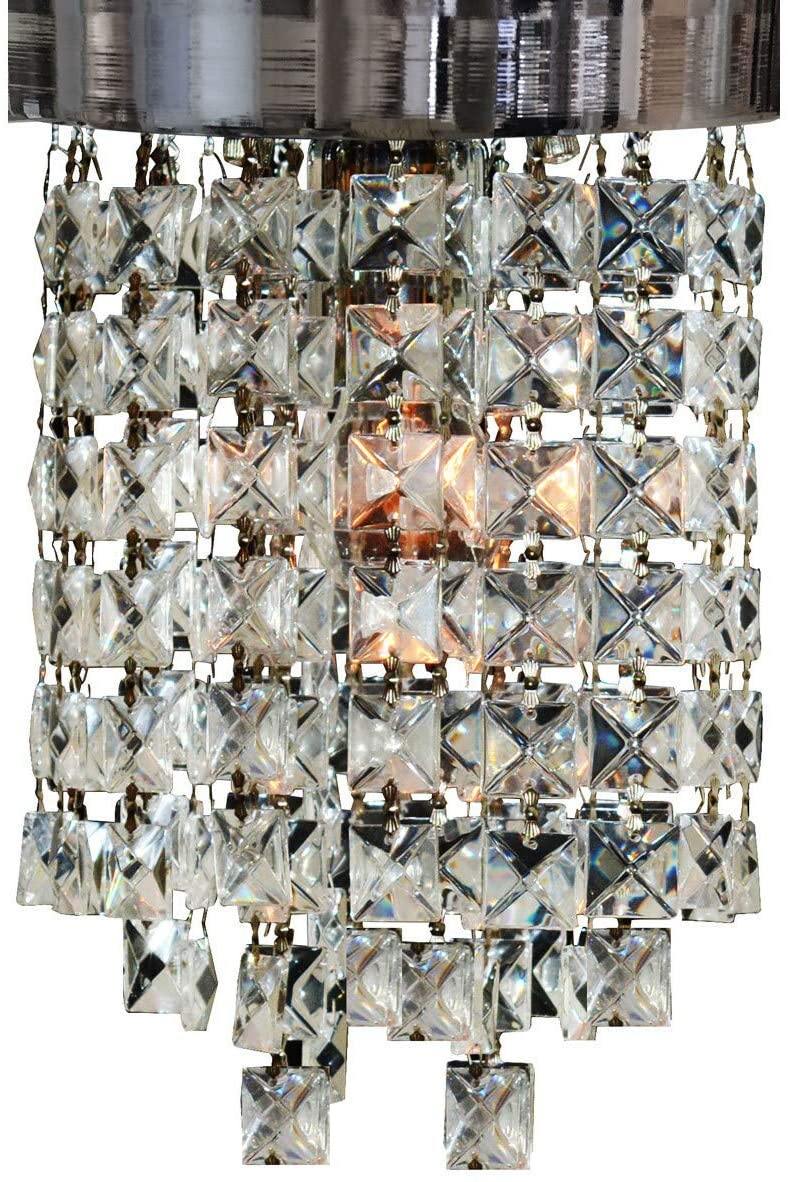 "Clear Crystal 1 Light Socket Chrome Finish Flush Mount Ceiling 8"" Diameter Traditional"