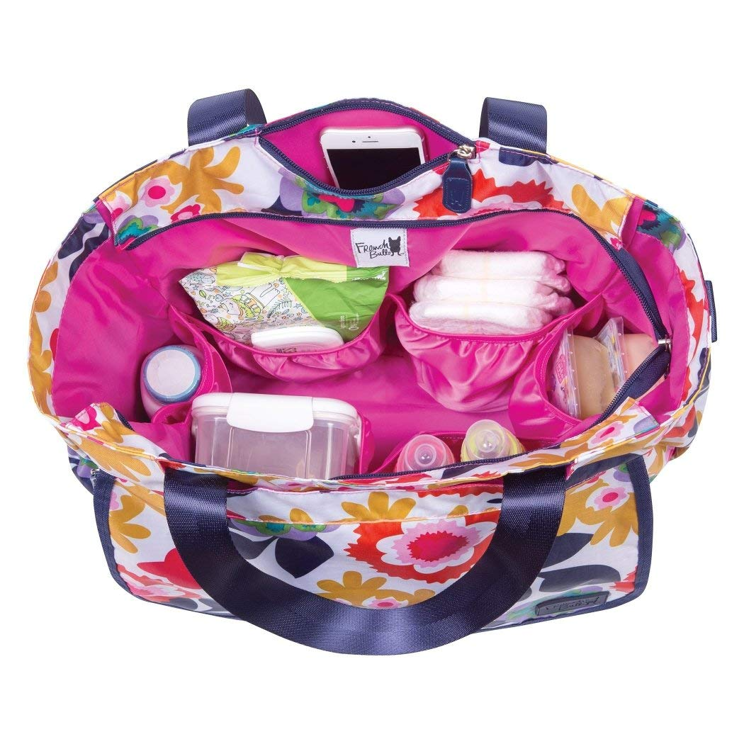 MI 1 Piece Pink Large Floral Diaper Bag Babies Baby Nursery Tote Backpack Carrier Tulip Flower Pattern Floral Flowers Design Roomy Changing Pad