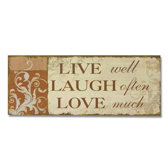 Live Well Laugh Often Love Much Wood Sign Inspirational Quote Wood Plaque Saying Text Quoted Wooden Wall Art Scroll Design Distressed Antique