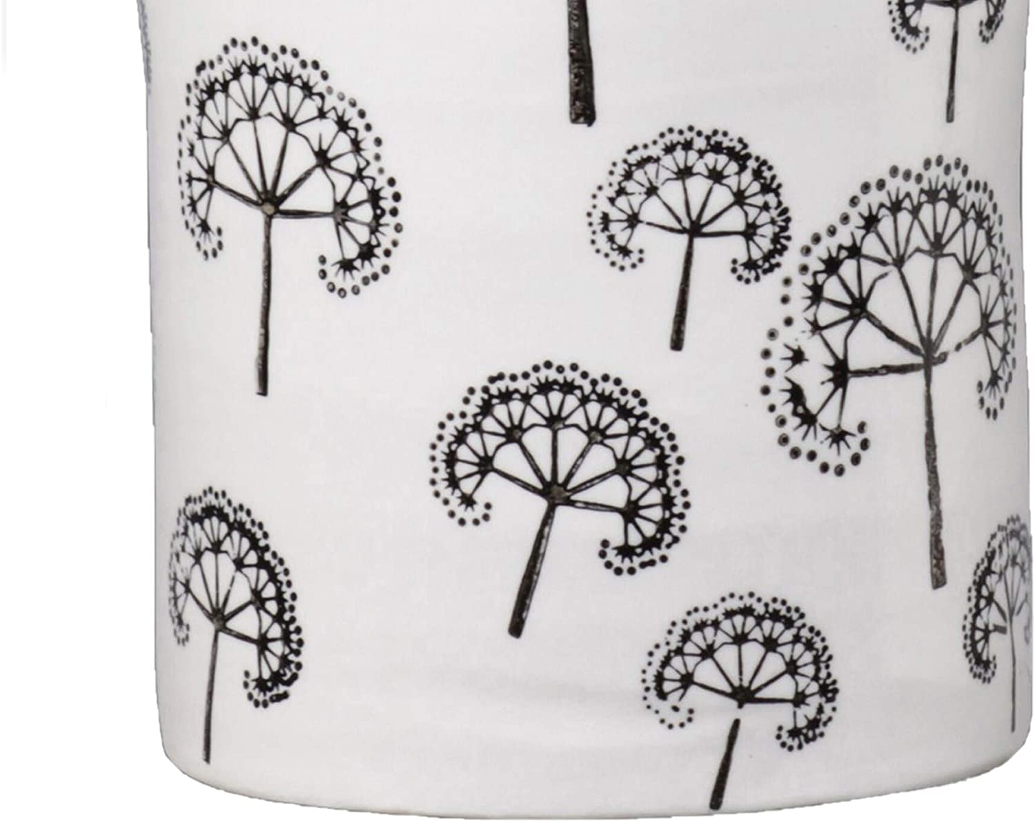 Ceramic Cylindrical Pot Printed Dandelion Pattern Set 4 White Modern Contemporary Antique