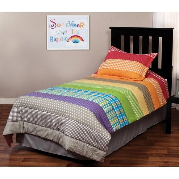 Kids Girls Twin Rainbow Quilt Set Colorful Stripes Pattern Printed Dots Plaids Bedding Cherry Red Orange Yellow Green Blue Purple Gray Vibrant Rainbow