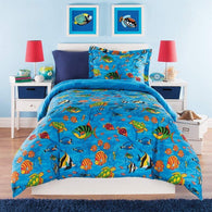 Kids Twin Comforter Set Aquarium Themed Full Sea Life Under Water Creatures Colored Tropical Fish Sea Turtles Coral Plants Starfish Sea Horses Ocean - Diamond Home USA