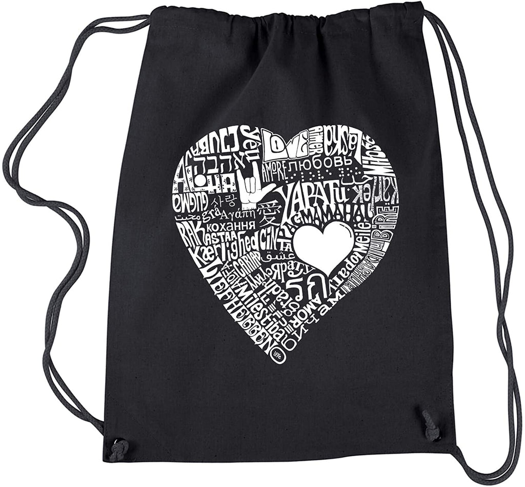 Love 44 Different Languages Drawstring Backpack Black Graphic Cotton Adjustable Strap