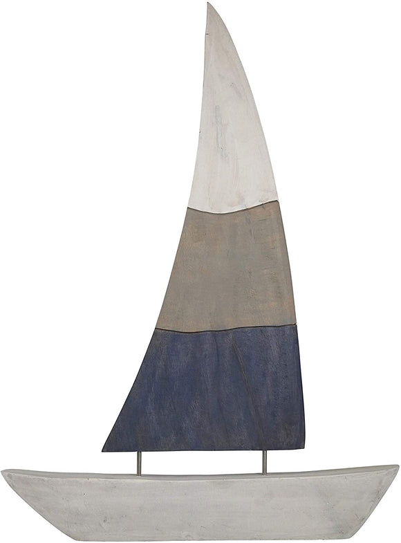 Nautical Charmed Mango Wood Sailboat Decor Right Side Multicolor Color