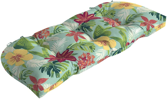 Tropical Wicker Settee Cushion Blue Polyester