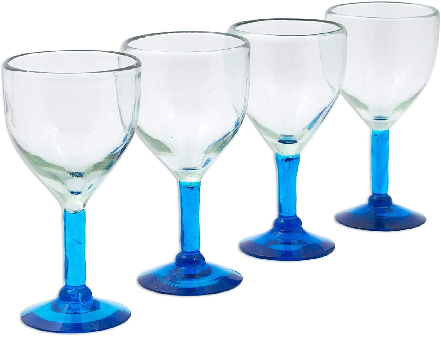 "Caribbean Blown Glass Goblets Set 4 Glasses 3 5"" X 7"" Blue Piece Handmade"