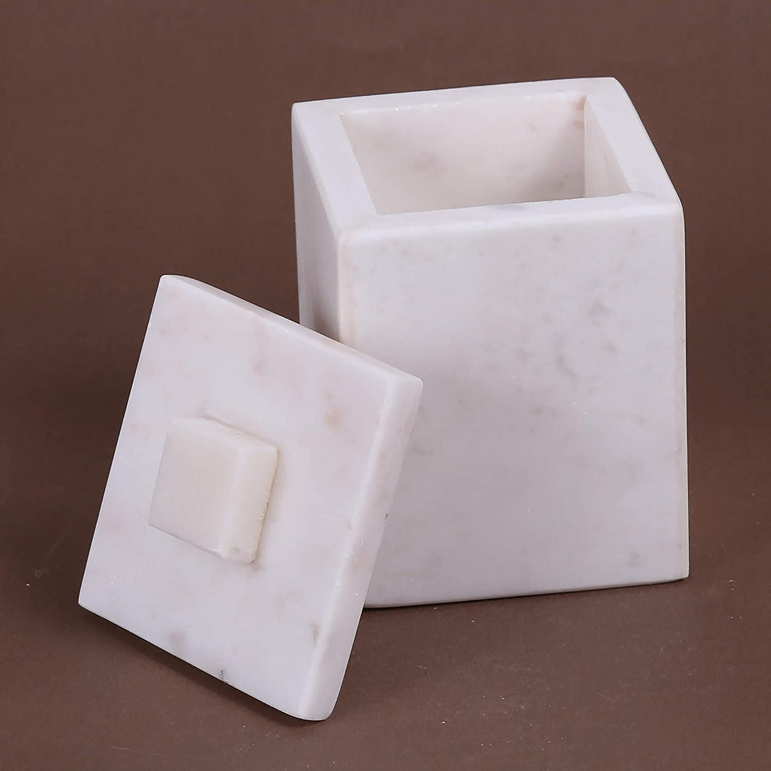Creamy White Marble Cotton Ball Holder Stone