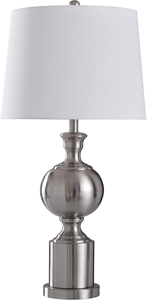 Brushed Steel Column Spherical Center Table Lamp Silver