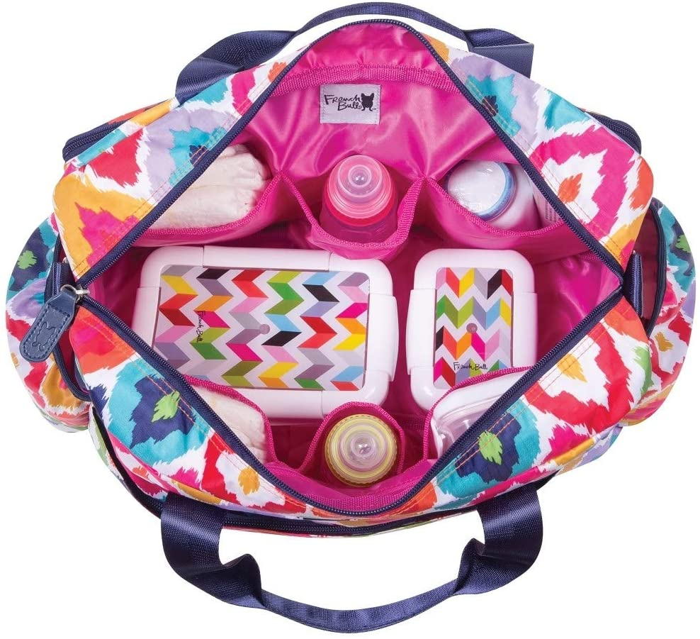 Pink Yellow Large Geometric Diaper Bag Babies Baby Nursery Tote Backpack Carrier Diamond Shape Ikat Jacquard Pattern Design Roomy Changing Pad