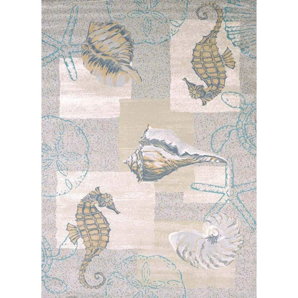 5'3 x 7'2 Blue Tan Seahorse Rug Seashells Sea Horse Mat Living Room Starfish Seaturtle Decor Coastal Grey Ivory Olefin Polyester