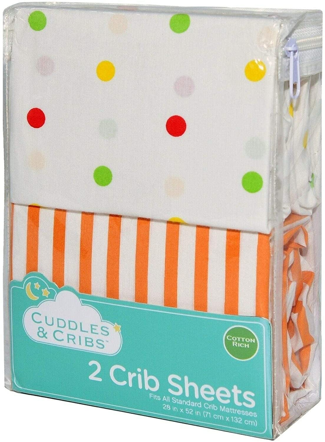 MISC Cuddles Cribs 2 Pack Cotton Rich Fitted Crib Sheet Polka Dots Dot Neutral Baby Boy Polyester