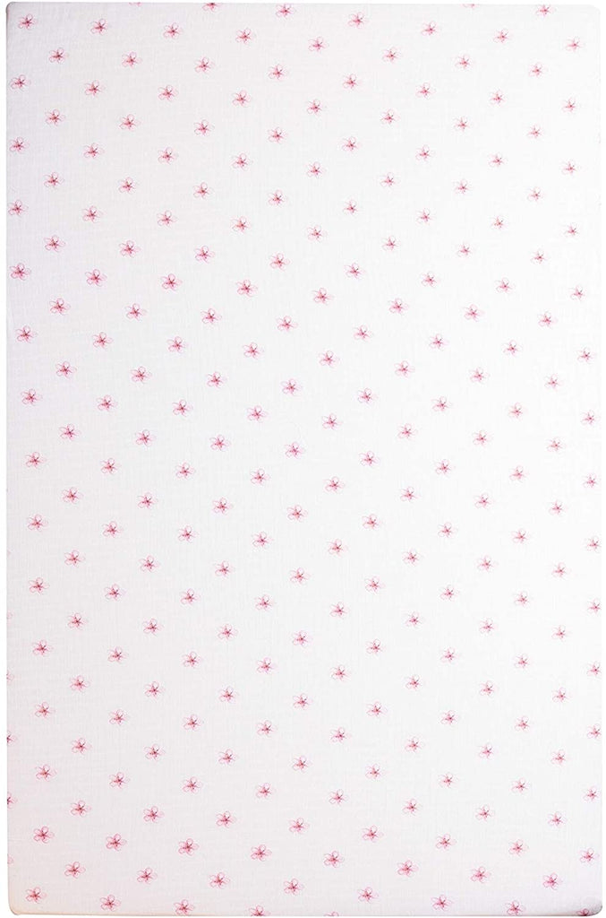 100% Cotton Fitted Sheet Pink Flowers Color Nature Girls 1 Piece
