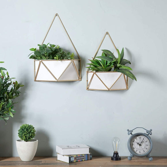 Set 2 Succulent Metal Wall Planters Gold White Modern Contemporary Rectangular