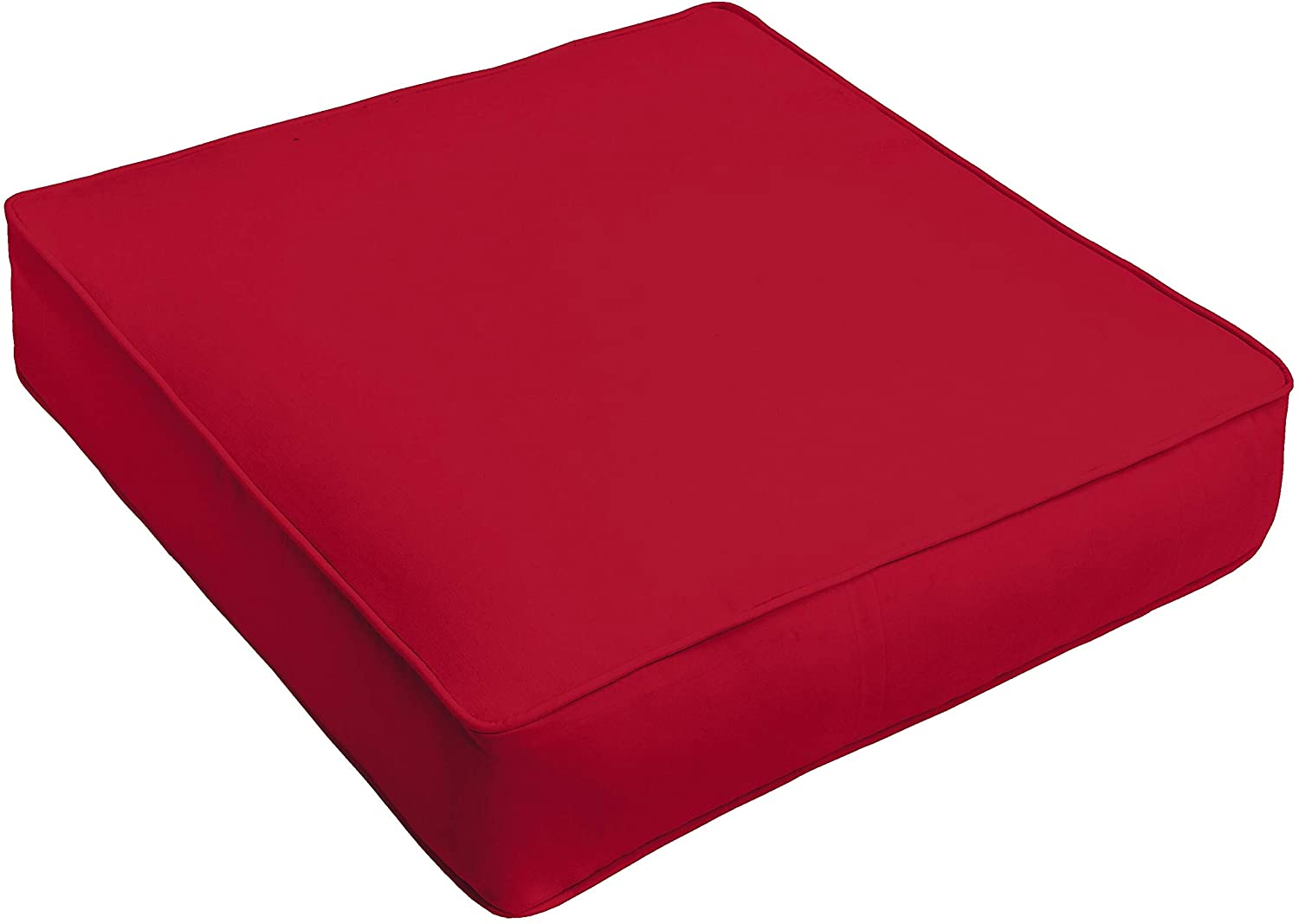 Indoor/Outdoor 22 5 Inch Square Corded Cushion Red Solid Modern Contemporary Traditional Transitional Polyester Fade Resistant Made USA Uv Water