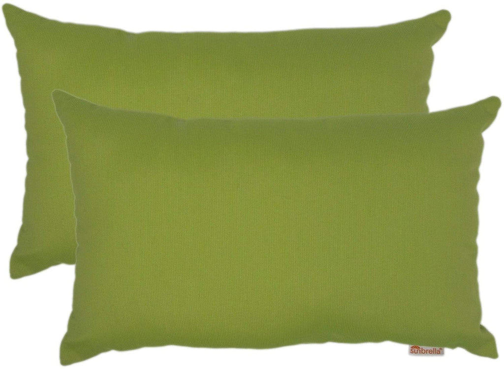 "Kiwi Boudoir Outdoor Pillow 2 Pack 13"" X 20"" Green Solid Modern Contemporary Removable Cover"