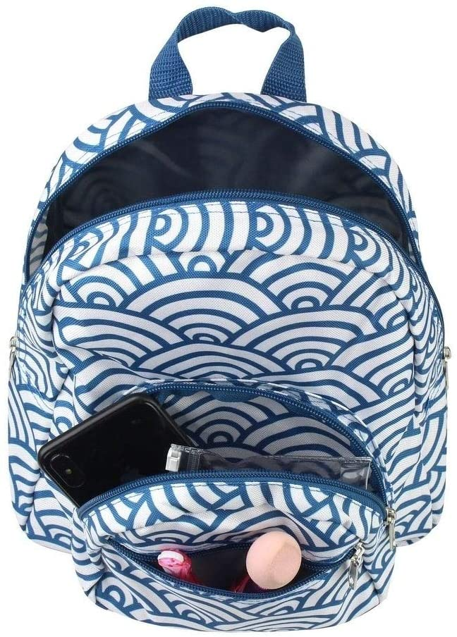 "9"" Stylish Small Backpack Outdoor Shoulder School Zipper Bag Adjustable Strap Toddler Kids Navy Japanese Waves Blue Designer Microfiber Foldable"