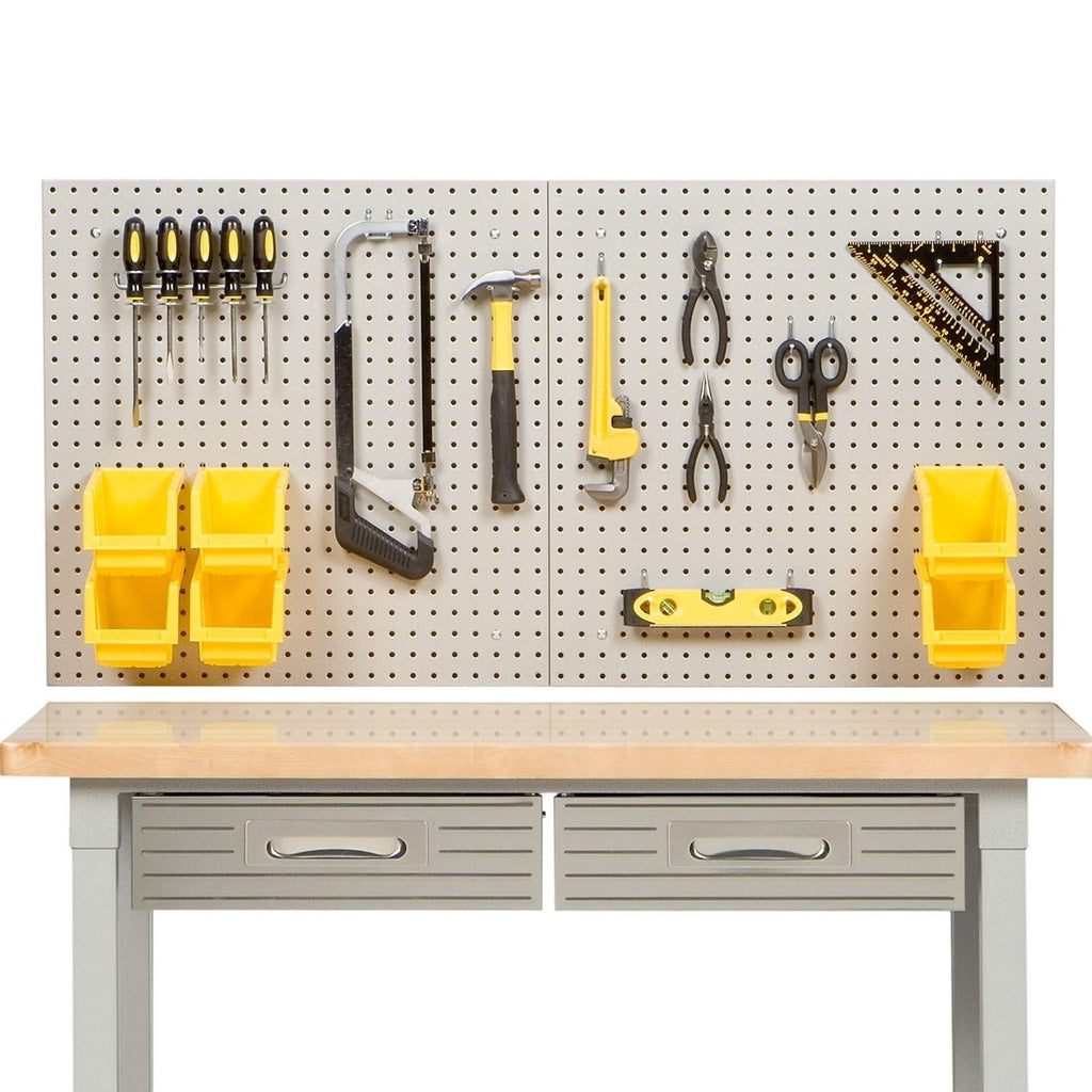 White Yellow Pegboard Bins Storage Shelves Baskets Pegboards Garage Tool Shed Organizing Craft Wall Tools Shelving Box Storages Metal