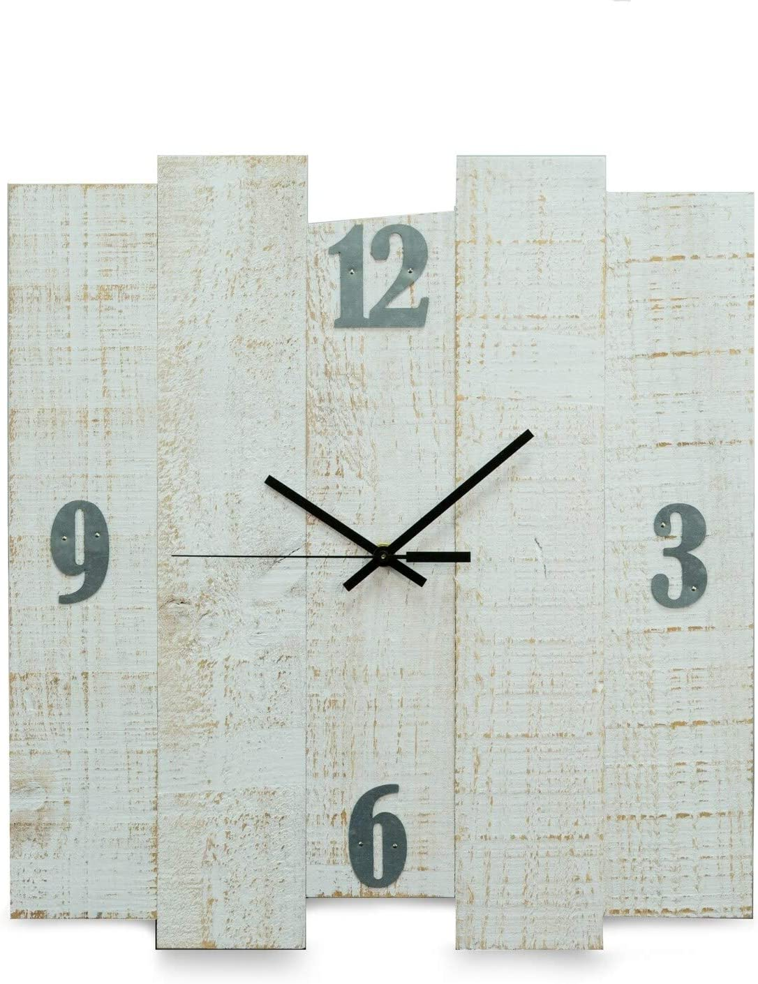 "White Distreesed Wood Wall Clock 16""x17"""