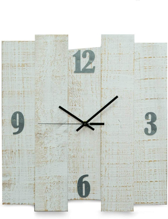 White Distreesed Wood Wall Clock 16