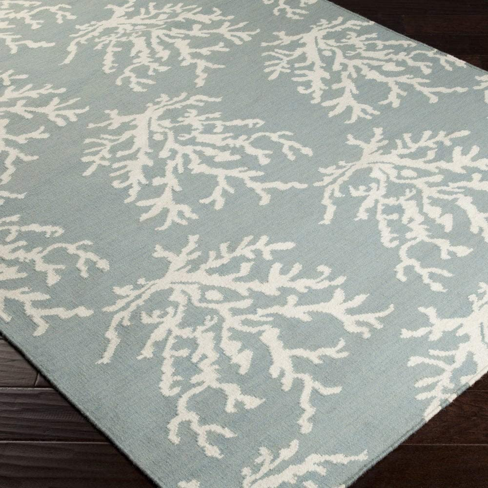 "MISC Hand Woven Hornet Powder Blue Wool Area Rug 3'3"" X 5'3"" Abstract Latex Free Handmade"