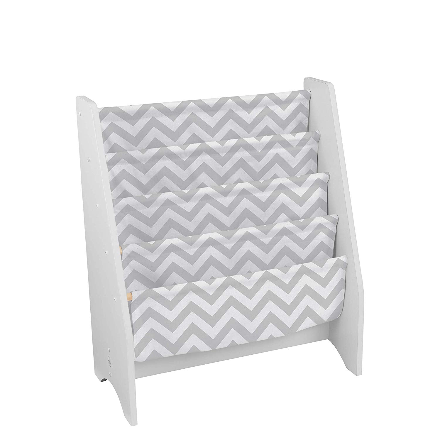 Grey White Sling Bookshelf Chevron Pattern Bookrack Zig Zag Canvas Children Theme Kids Playroom Wood Polyester