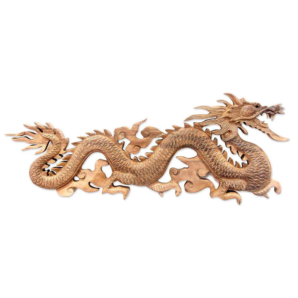 Breathing Wooden Dragon Statue Baru Klinthing Indonesia Orient Figurine Asian Oriental Sculpture Carved Art Handmade Wood Brown 6 5 Inch H