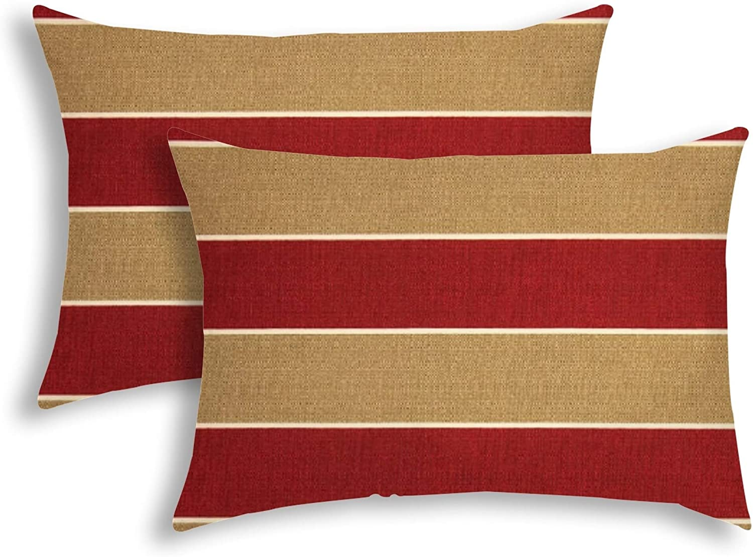 Stripe Red Indoor/Outdoor Pillow Sewn Closure (Set 2) Color Striped Modern Contemporary Polyester Water Resistant