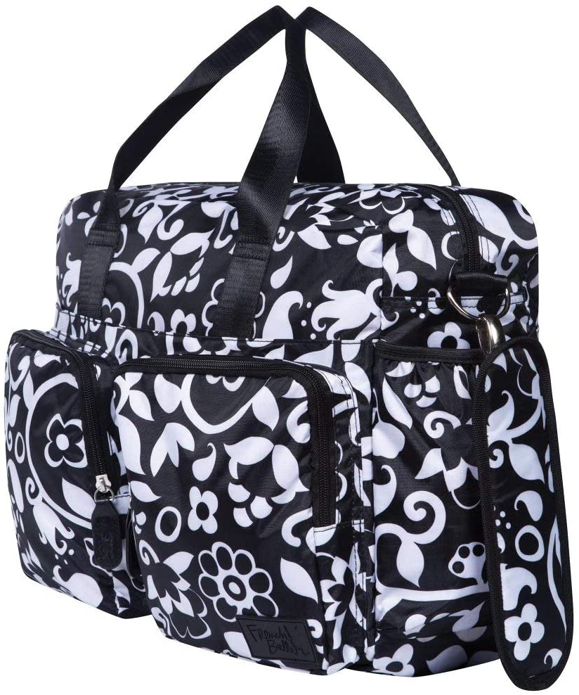 Black White Large Damask Diaper Bag Babies Baby Nursery Tote Backpack Carrier Geometric Leaf Flower Floral Pattern Design Roomy Changing Pad Zippered