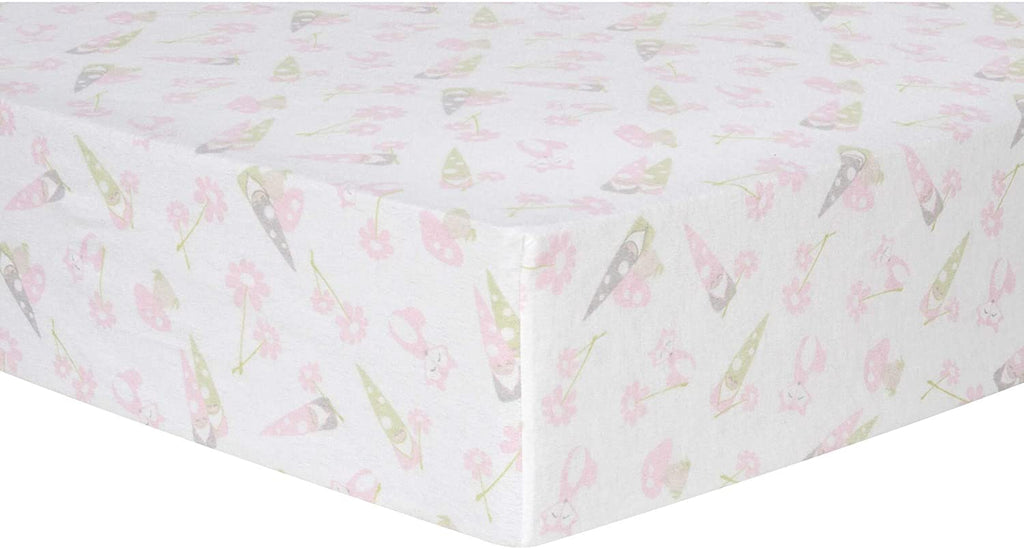 Garden Gnomes Deluxe Flannel Fitted Crib Sheet Color Flowers Cotton