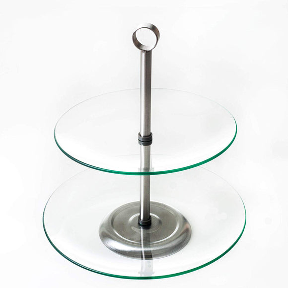 Clear 2 Tier Serving Tray Round Buffet & Dessert Stand Cake Plates Kitchen 2 Tier Plate Modern Traditional Silver Chrome Grey Glass Metal Steel