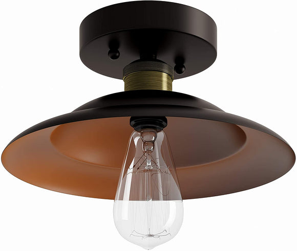 Oil Rubbed Bronze Semi Flush Mount Brown Industrial Transitional Metal Bulbs Included Dimmable