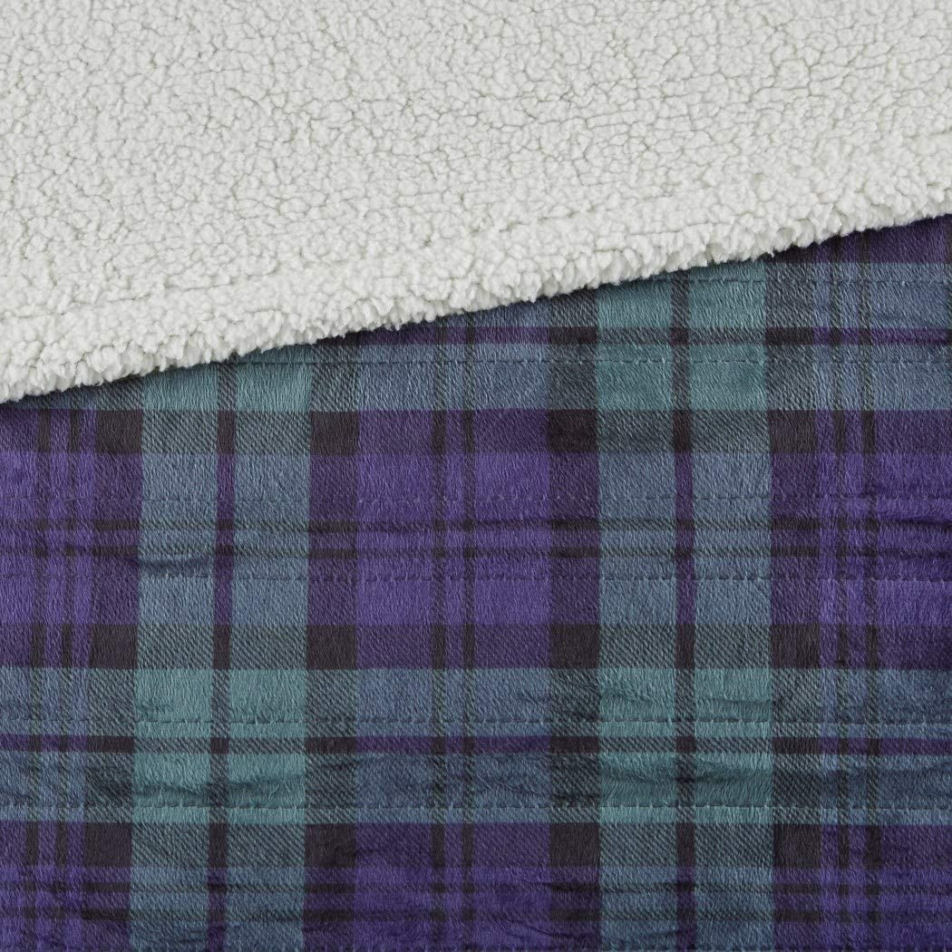 60x70 Blue Green Plaid Throw Blanket Heated Checkered Cabin Lodge Theme Bedding Lumberjack Stripes Checked Rugby Striped Horizontal Vertical Tartan