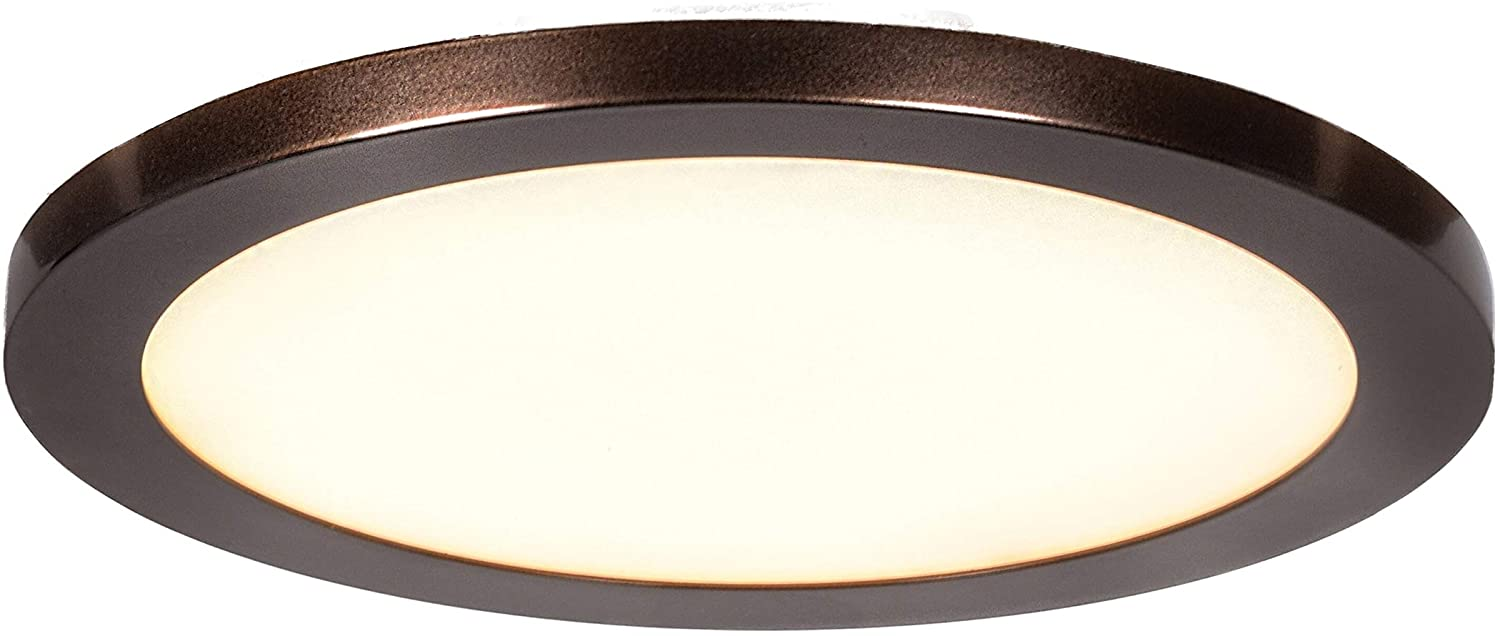 Lighting Disc 1 Light Bronze Medium Round Led Flush Mount Modern Contemporary Metal