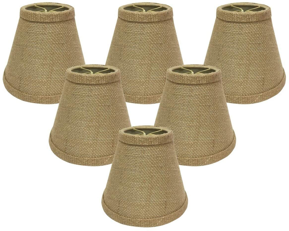 Hardback Empire Burlap 6 inch Chandelier Lamp Shades (Set 6) Black Modern Contemporary