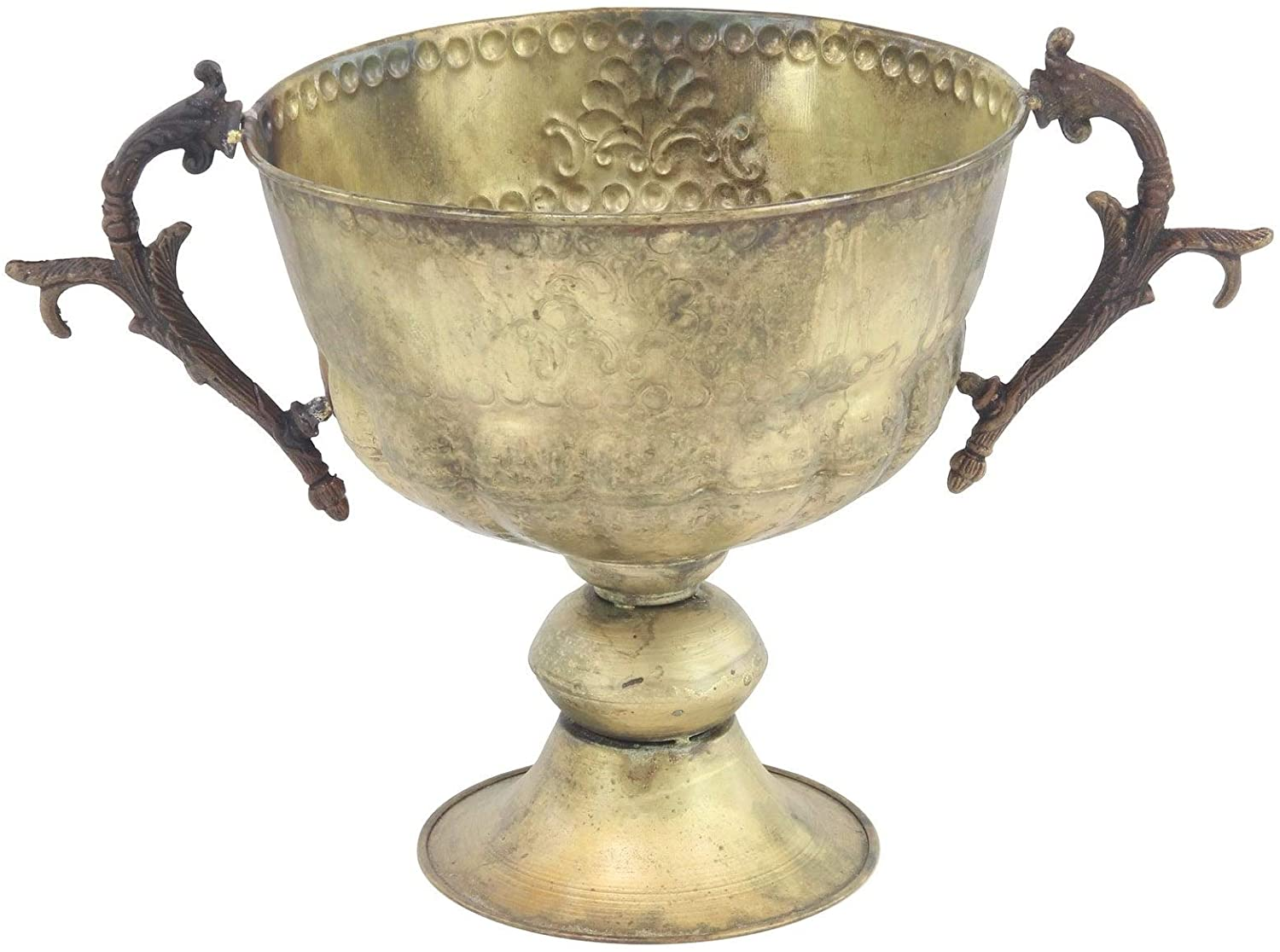 Traditional 11 X 19 Inch Distressed Iron Trophy Cup Planter Gold Round