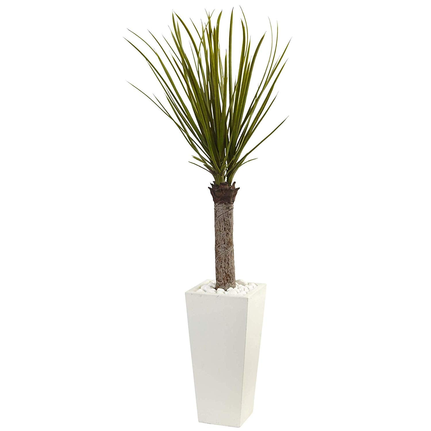 Green Yucca Plant Indoor Palmtree Tower Planter Tropical 4 Foot Silk Plant Floral Asparagaceae Botanical Palm Tree Artificial Nature Oasis