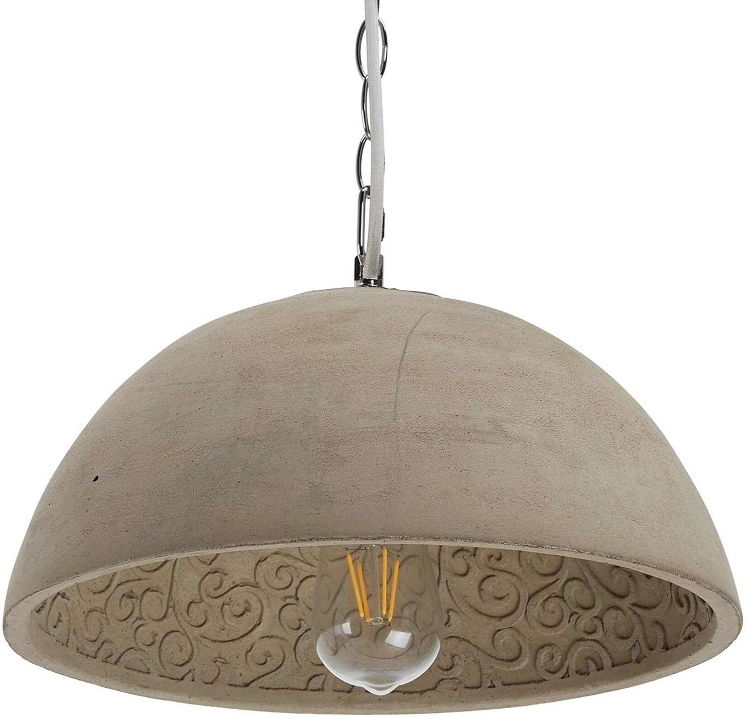 Modern Round Cement 1 Light Pendant Grey Industrial Contemporary Transitional Metal Bulbs Included