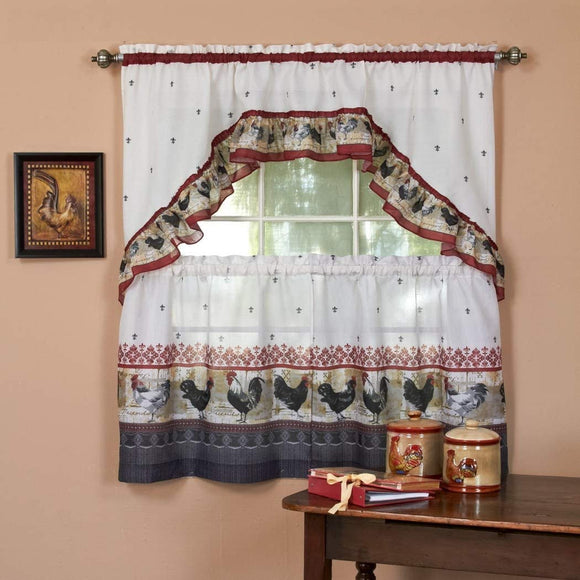 Burgundy Grey Ornate Rooster Kitchen Tiers Swag Set 57x36 Inch Red Color Chicken Kitchen Curtains Log Cabin Lodge Cottage Window Treatment Morning