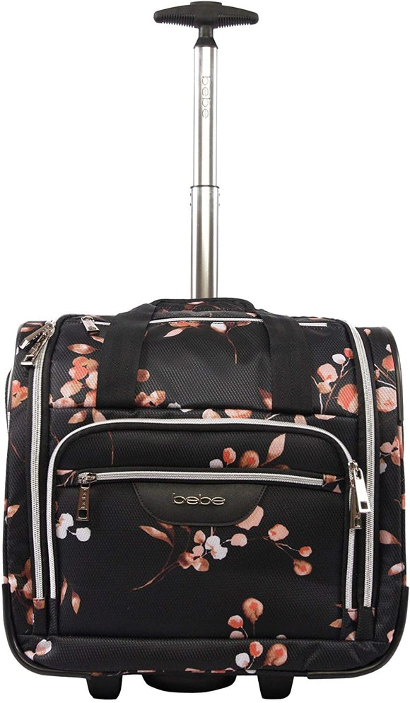 MISC 16 inch Under Seat Rolling Carry Tote Bag Black Floral Polyester